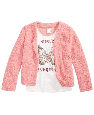 Belle Du Jour Faux Fur Jacket, Tank Top, & Necklace Set, Big Girls