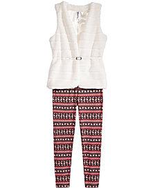 Beautees 2-Pc. Faux-Fur Vest, & Leggings Set, Big Girls