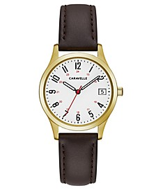 Women's Brown Leather Strap Watch 30mm