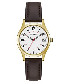 Caravelle Designed by Bulova  Women's Brown Leather Strap Watch 30mm