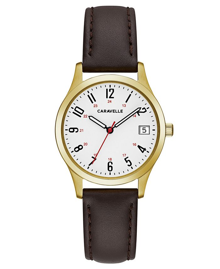 Caravelle - Women's Brown Leather Strap Watch 30mm