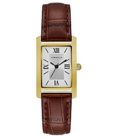Women's Brown Leather Strap Watch 21x33mm