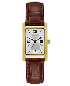 Caravelle Women's Brown Leather Strap Watch 21x33mm