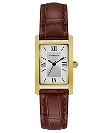 Caravelle Designed by Bulova  Women's Brown Leather Strap Watch 21x33mm