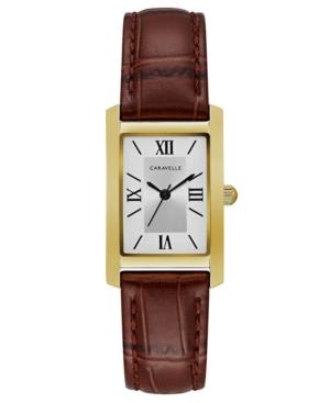 Designed by Bulova Women's Brown Leather Strap Watch 21x33mm