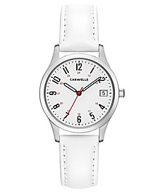 Women's White Leather Strap Watch 30mm