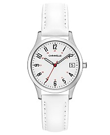 Caravelle Designed by Bulova  Women's White Leather Strap Watch 30mm