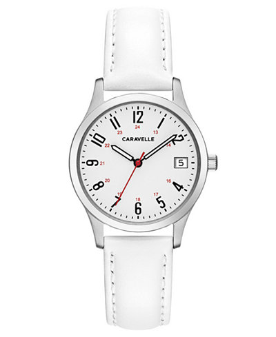 Caravelle Women's White Leather Strap Watch 30mm