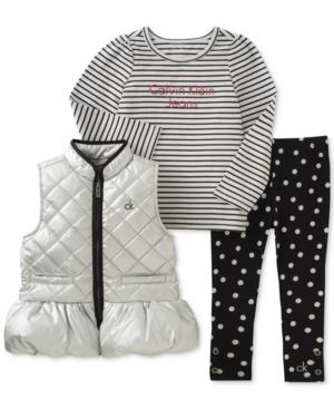 Calvin Klein 3Pc Vest LongSleeve Top  DotPrint Leggings Set Little Girls (46X)