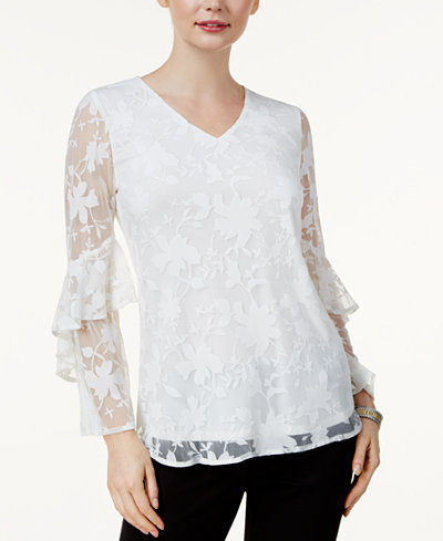 Alfani Burnout Ruffle-Sleeve Top, Created for Macy's