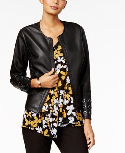Alfani Grommet-Trim Faux-Leather Jacket, Created for Macy's