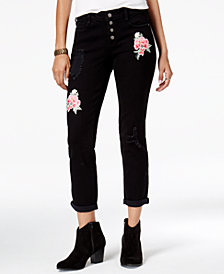 Black Daisy Juniors' Jamie Ripped Embroidered Relaxed Fit Girlfriend Jeans