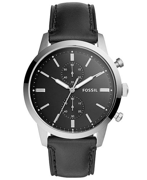 fef7fa8e1db80 ... Fossil Men s Chronograph Townsman Black Leather Strap Watch 44mm ...