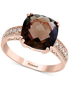 Final Call by EFFY® Smoky Quartz (3-5/8 ct. t.w.) & Diamond Accent Ring in 14k Rose Gold