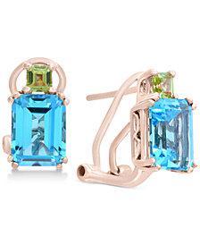 EFFY Collection Blue Topaz (3-9/10 ct. t.w.) & Peridot (3/8 ct. t.w.) Drop Earrings in 14k Rose Gold