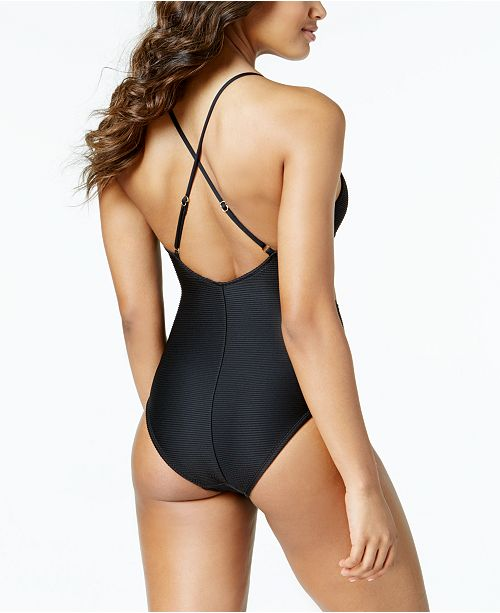 0529a4f0bb Bar III Ribbed Tie-Front Cutout One-Piece Swimsuit, Created for Macy's ...