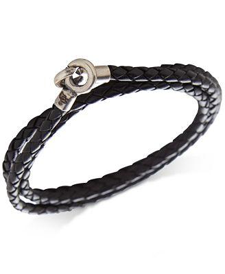 Degs & Sal Mens Braided Leather Wrap Bracelet