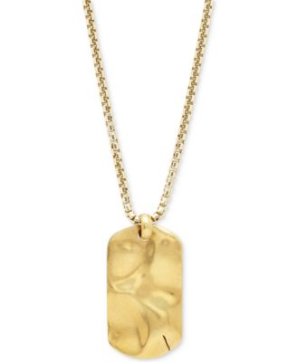 DEGS SAL Mens Dog Tag Pendant Necklace in 14k GoldPlated