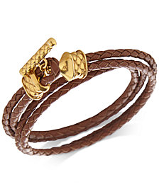 DEGS & SAL Men's Leather Double Wrap Bracelet in 14k Gold-Plated Sterling Silver