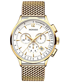 Movado Men's Swiss Chronograph Circa Gold-Tone PVD Stainless Steel Mesh Bracelet Watch 42mm