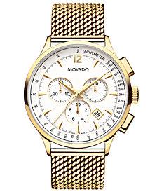 Movado Men's Swiss Chronograph Circa Gold-Tone PVD Stainless Steel Mesh Bracelet Watch 42mm