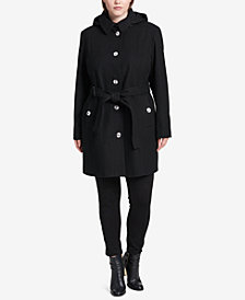 Calvin Klein Plus Size Hooded Belted Walker Coat