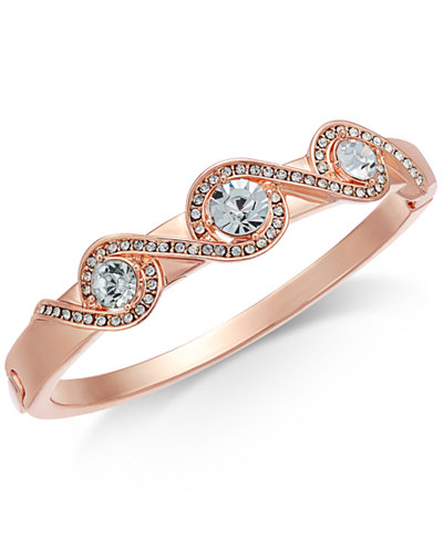 Charter Club Rose Gold-Tone Pavé Crystal-Accented Bracelet, Created for Macy's