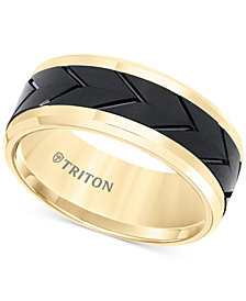 Men's Black Tread Design Band in Tungsten Carbide