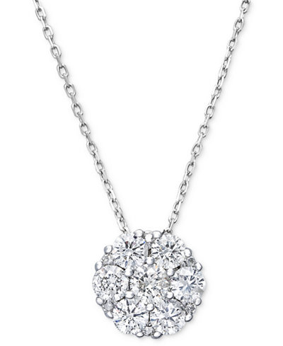 Diamond Flower Cluster Pendant Necklace in 14k White Gold (1/4 ct. t.w.)