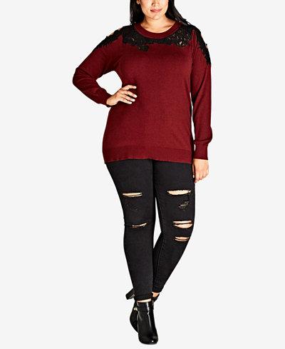 City Chic Trendy Plus Size Cold-Shoulder Illusion Sweater
