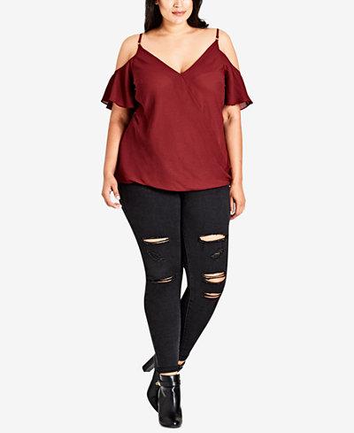 City Chic Trendy Plus Size Faux-Wrap Cold-Shoulder Top