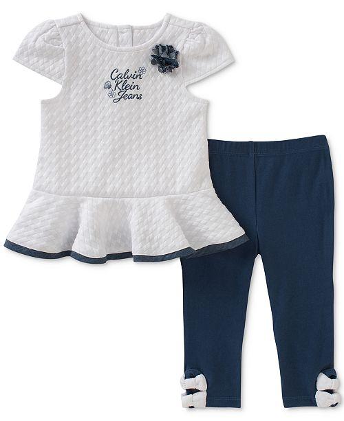 4c1b86dbc8e6 Calvin Klein 2-Pc. Peplum Tunic   Bows Leggings Set