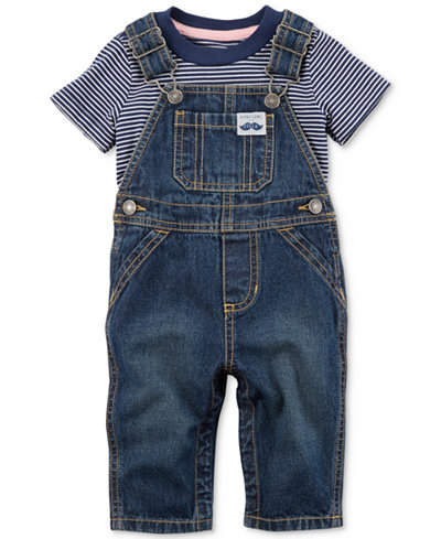 Carter's 2-Pc. Cotton T-Shirt & Denim Overalls Set, Baby Boys