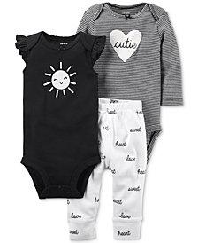 Carter's 3-Pc. Babysoft Cotton Bodysuits & Pants Set, Baby Girls