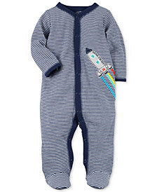 Carter's Baby Boys Striped Rocket Cotton Footed Coverall