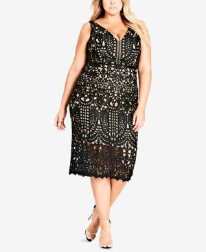 Trendy Plus Size All Class Lace Sheath Dress in Black