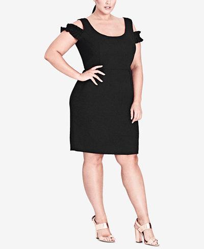 City Chic Trendy Plus Size Cold-Shoulder Sheath Dress