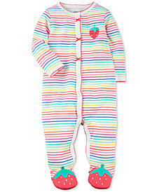 Carter's Baby Girls Striped Strawberry Cotton Footed Coverall