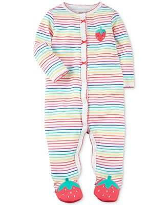 Carter's 1-Pc. Striped Strawberry Cotton Footed Coverall, Baby Girls