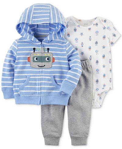 Carter's 3-Pc. Cotton Robot Hoodie, Bodysuit & Pants Set, Baby Boys