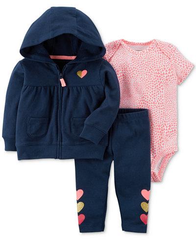 Carter's 3-Pc. Cotton Hoodie, Heart-Print Bodysuit & Pants Set, Baby Girls