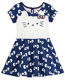 Hello Kitty Bows-Print Kitty Face Dress, Baby Girls