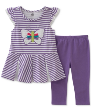 Kids Headquarters 2Pc Striped Butterfly Tunic  Capri Leggings Set Baby Girls (024 months)