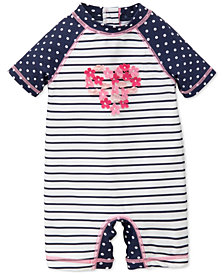 Little Me Striped & Dot-Print Rash Guard Swimsuit, Baby Girls