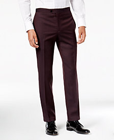 Tallia Men's Slim-Fit Burgundy Solid Twill Wool Suit Pants