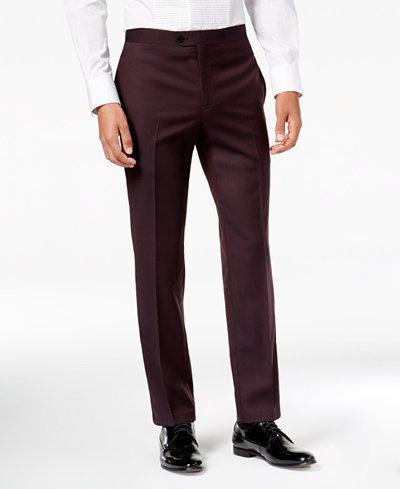 Tallia Men's Slim-Fit Burgundy Solid Twill Wool Suit Pants