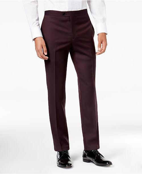 a0099229d Tallia Men's Slim-Fit Burgundy Solid Twill Wool Suit Pants & Reviews ...