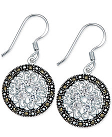 Marcasite & Crystal Flower Disc Drop Earrings in Fine Silver-Plate