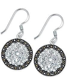 Marcasite & Crystal Flower Disc Drop Earrings in Fine Silver-Plate