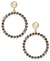 I.N.C. Gold-Tone Glass Stone Gypsy Hoop Earrings, Created for Macy's